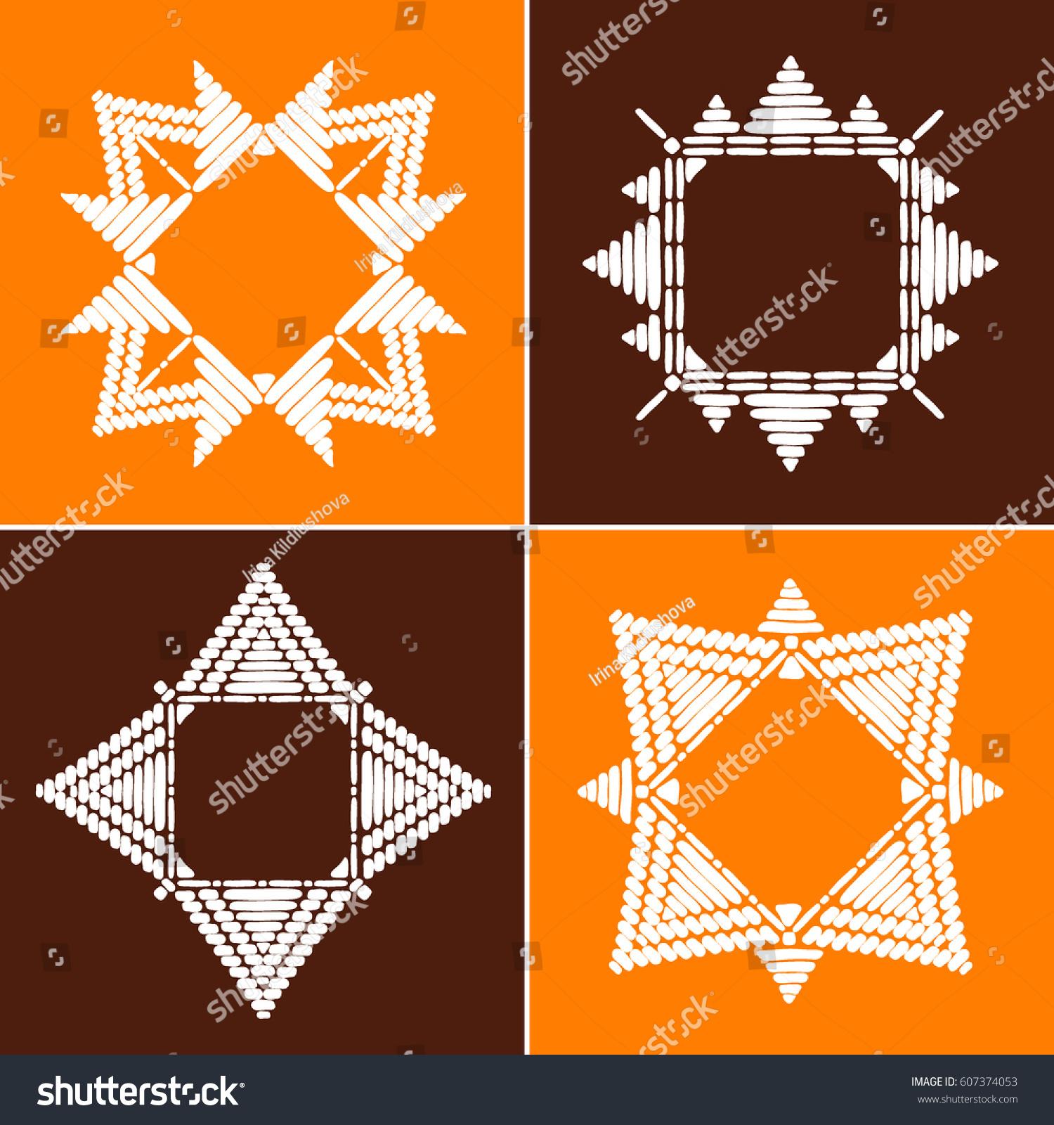 Tribal Frames Collection Vector African Aztec Stock Vector 607374053 ...