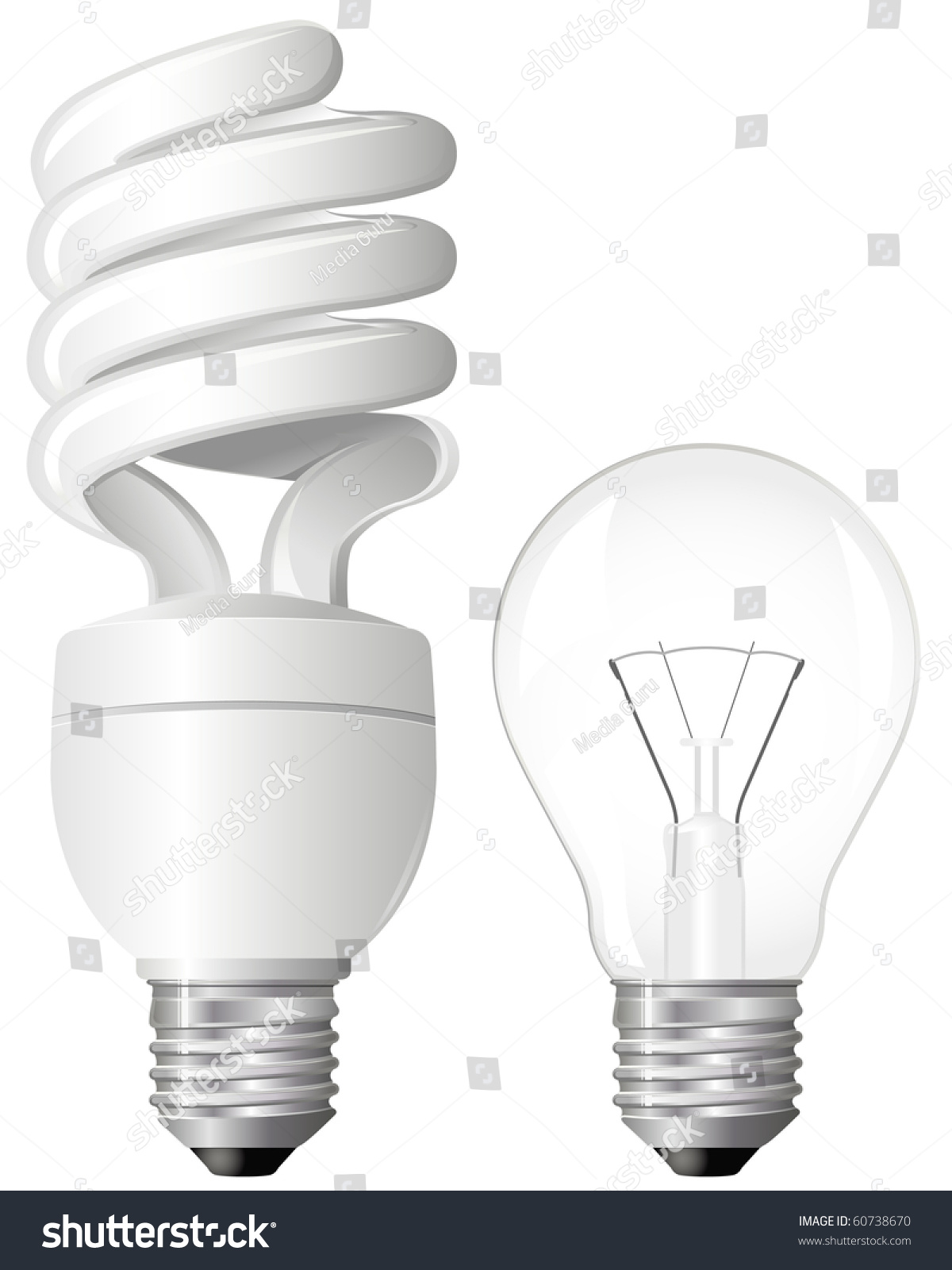 Efficient pact Fluorescent Light Bulb Stock Vector
