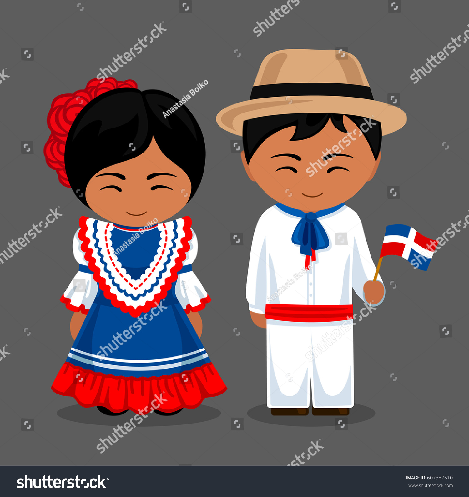 Dominicans National Dress Flag Man Woman Stock Vector