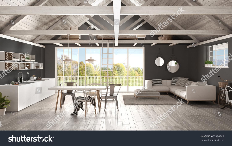 Minimalist Mezzanine Loft, Kitchen, Living And Bedroom, Wooden Roofing And  Parquet Floor,