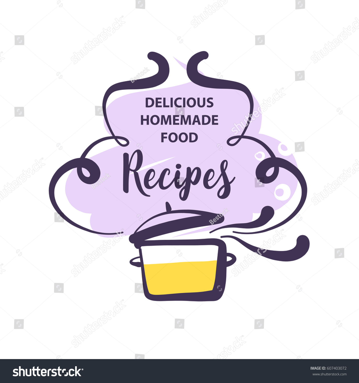 Handdrawn logo delicious homemade food recipe stock vector royalty hand drawn logo for delicious homemade food recipe concept template logotype with abstract cooking forumfinder Choice Image