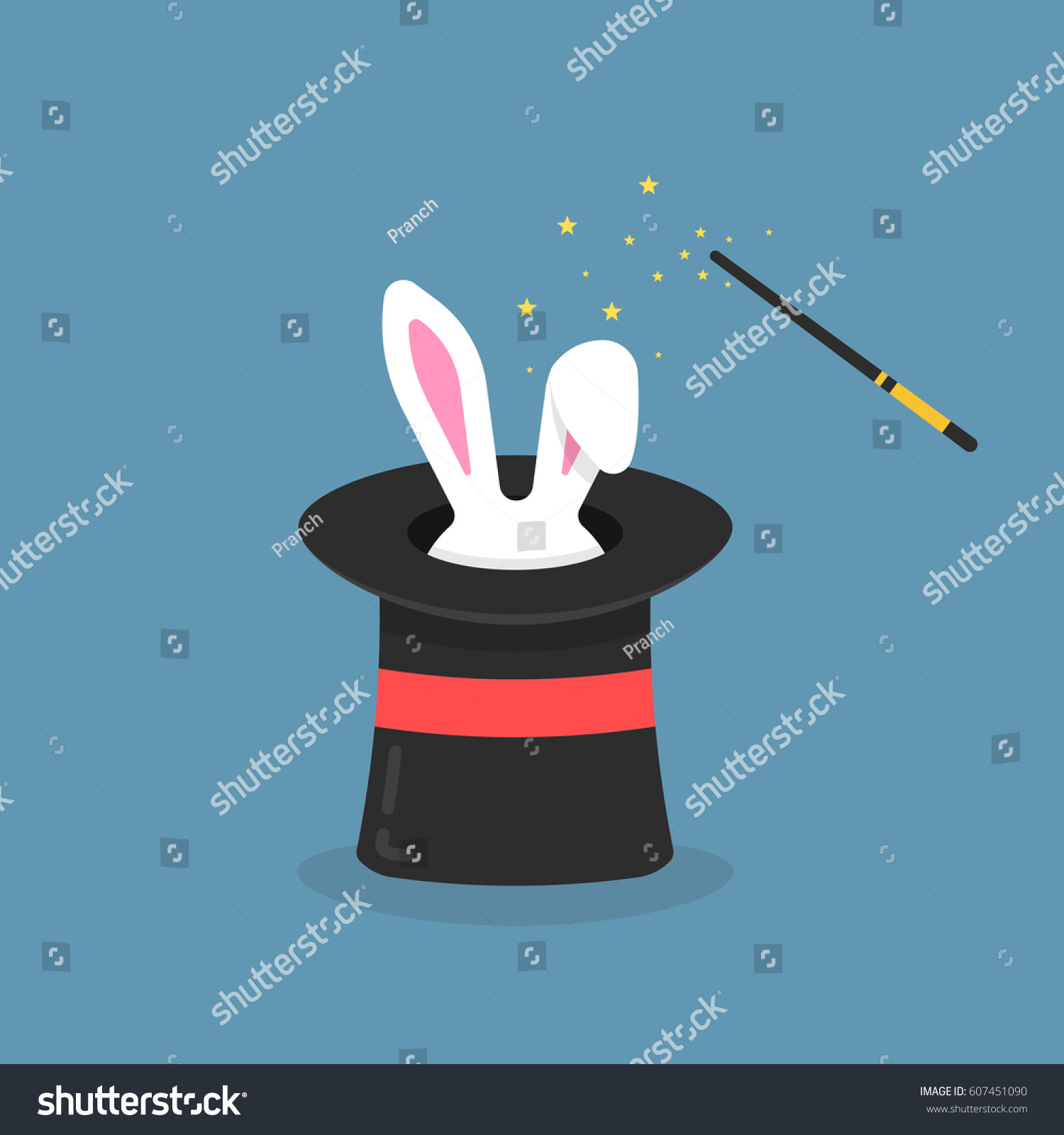 Black Magic Hat With Bunny Ears Entertainment Party Or Beautiful Circus Show Concept Imagination