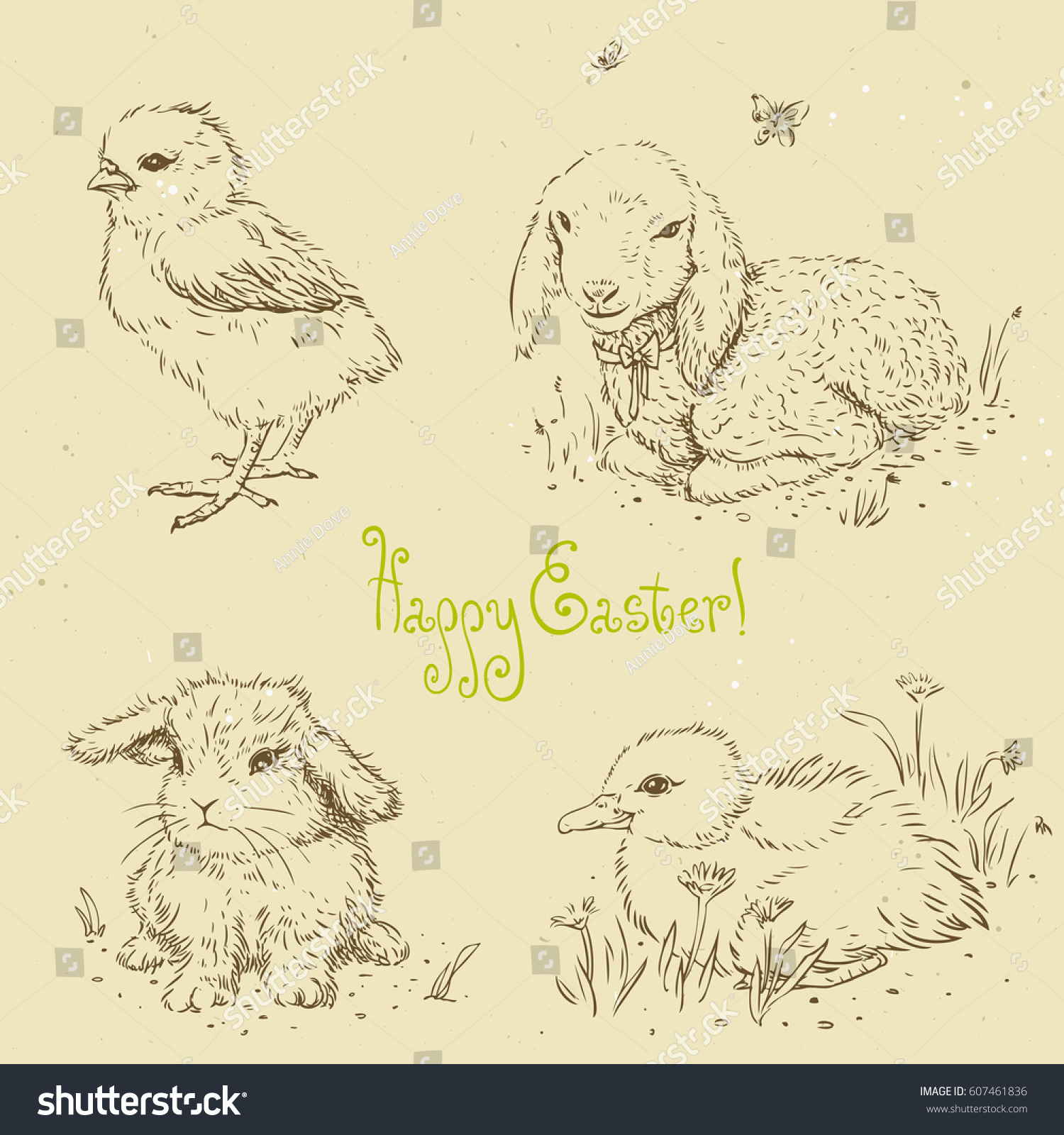 Sketches In Retro Style For Design Easter Chick