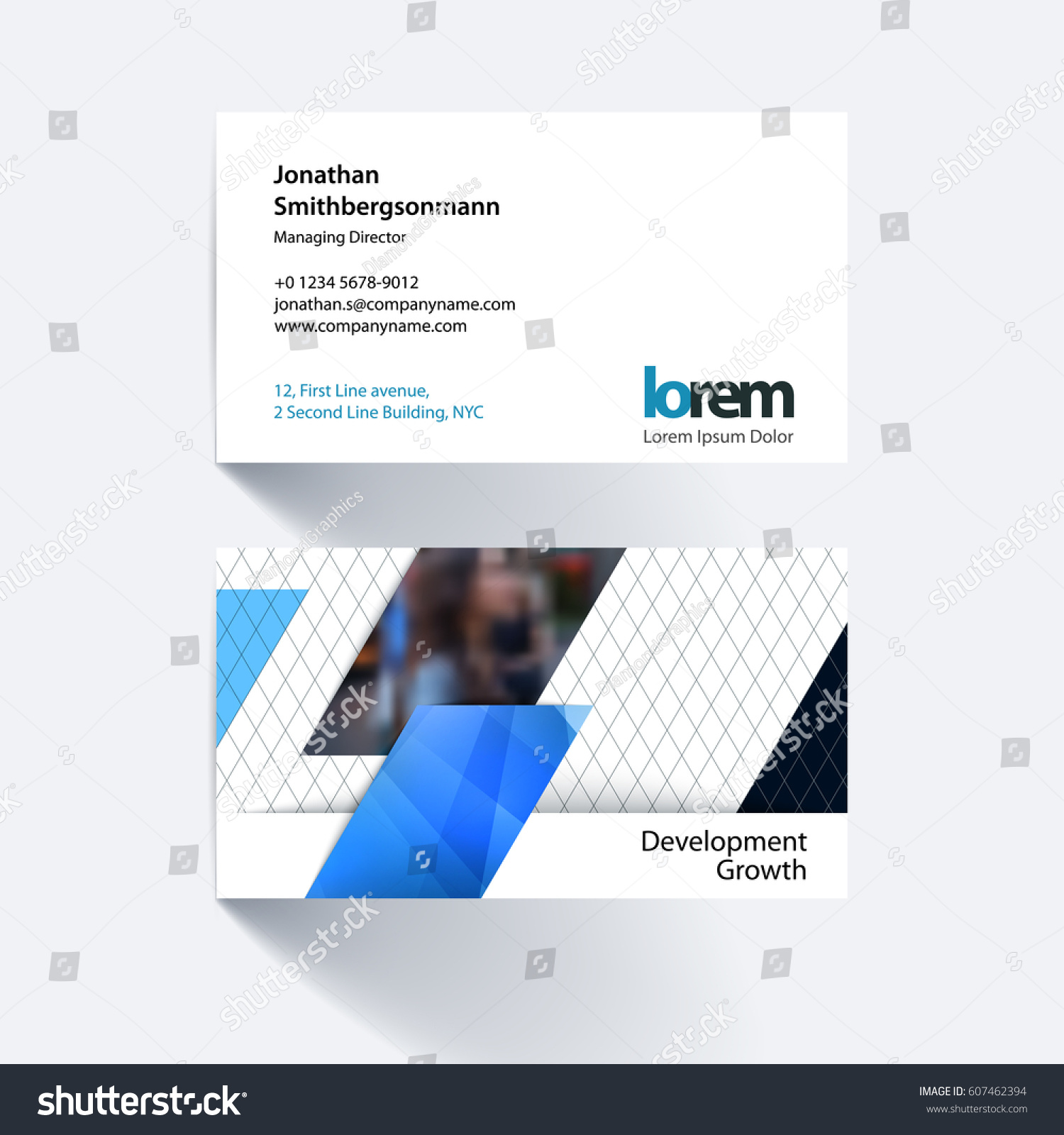 vector business card template blue diagonal stock vector