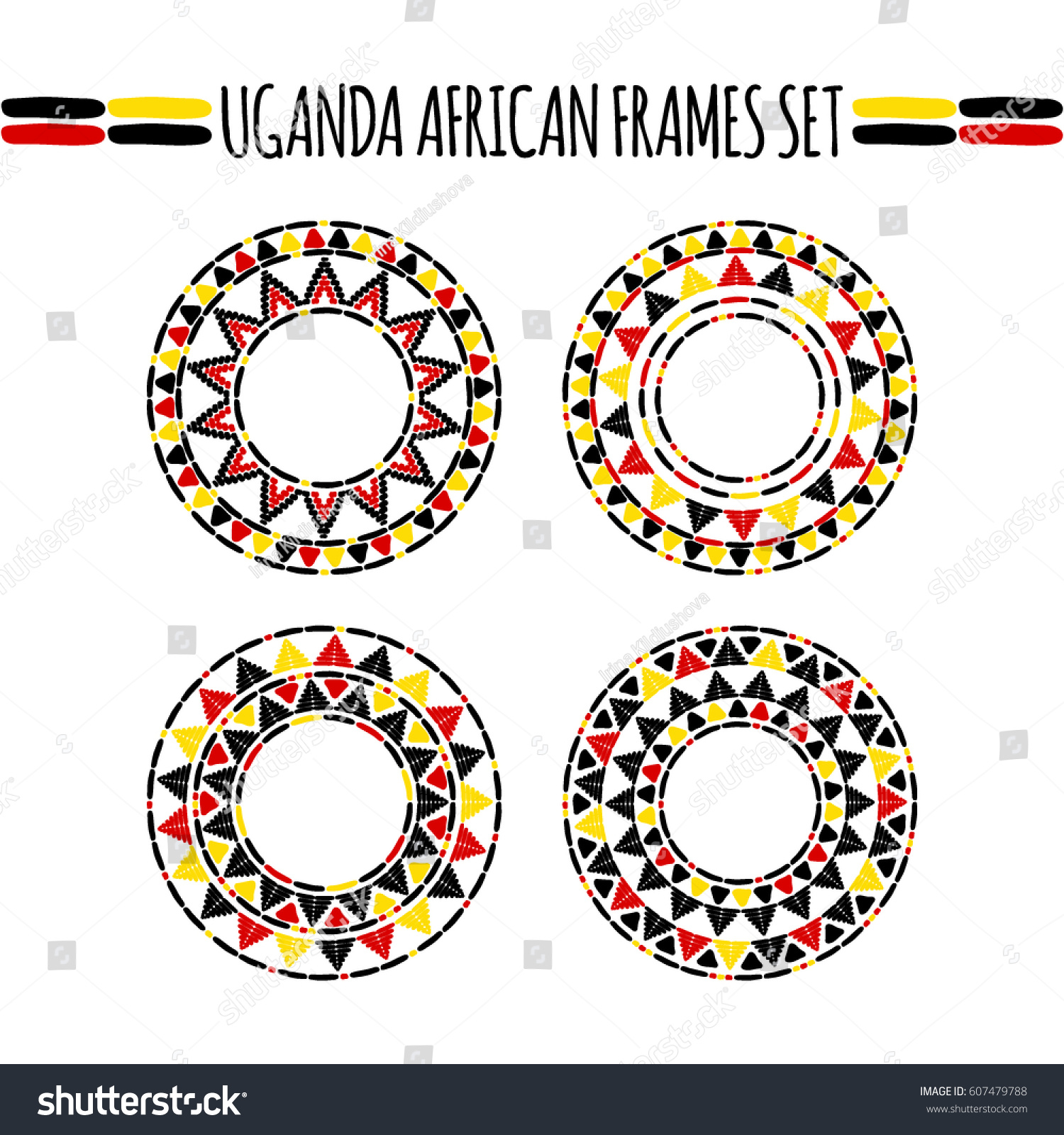 Tribal Round Frames Collection Vector African Stock Vector (Royalty ...