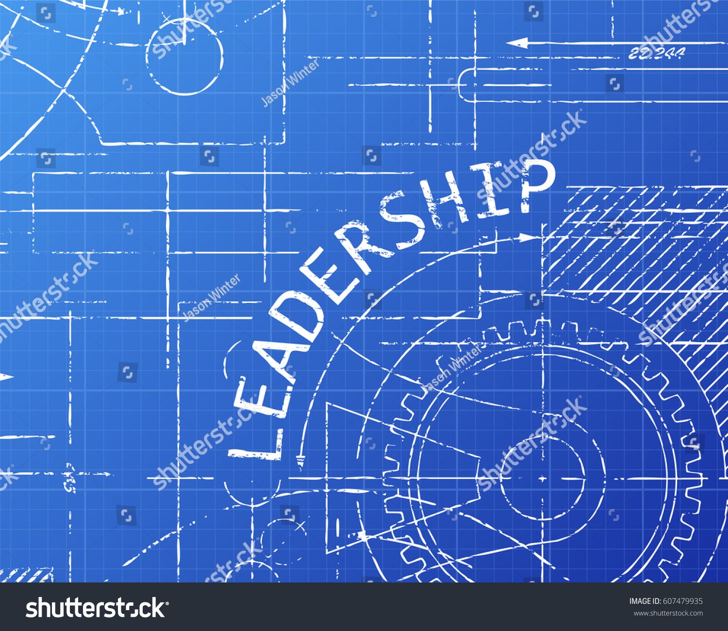 Leadership text gear wheels hand drawn vectores en stock 607479935 leadership text with gear wheels hand drawn on blueprint technical drawing background malvernweather Gallery