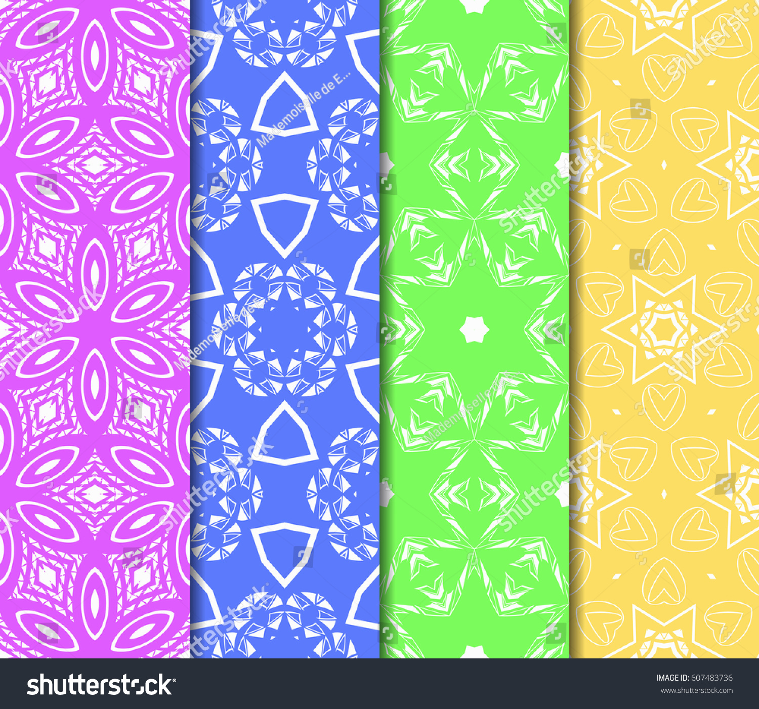 Set 4 Flower Pattern Seamless Beautiful Stock Vector