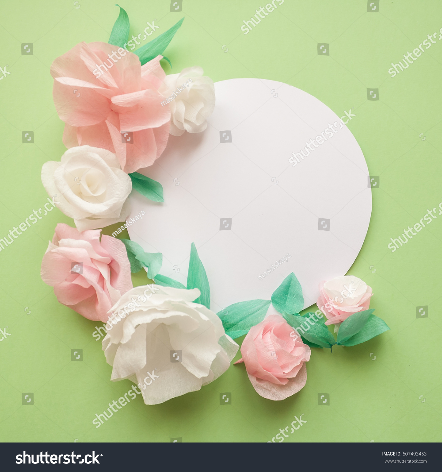 Round Frame Color Paper Flowers On Stock Photo Edit Now 607493453