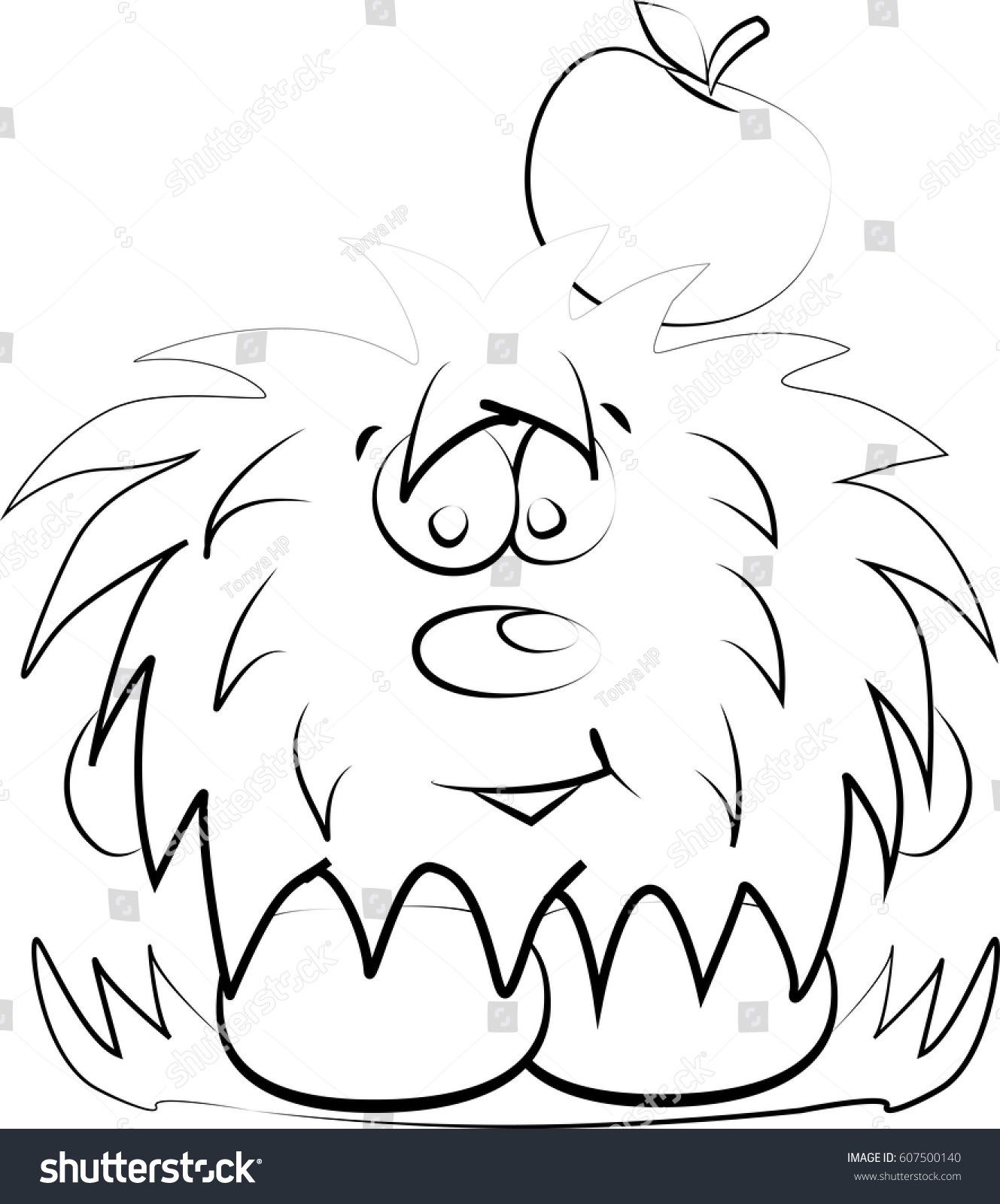 Animated Hedgehog Apple Separately Isolated Vector Stock Vector ... for Apple Animated Black And White  131fsj