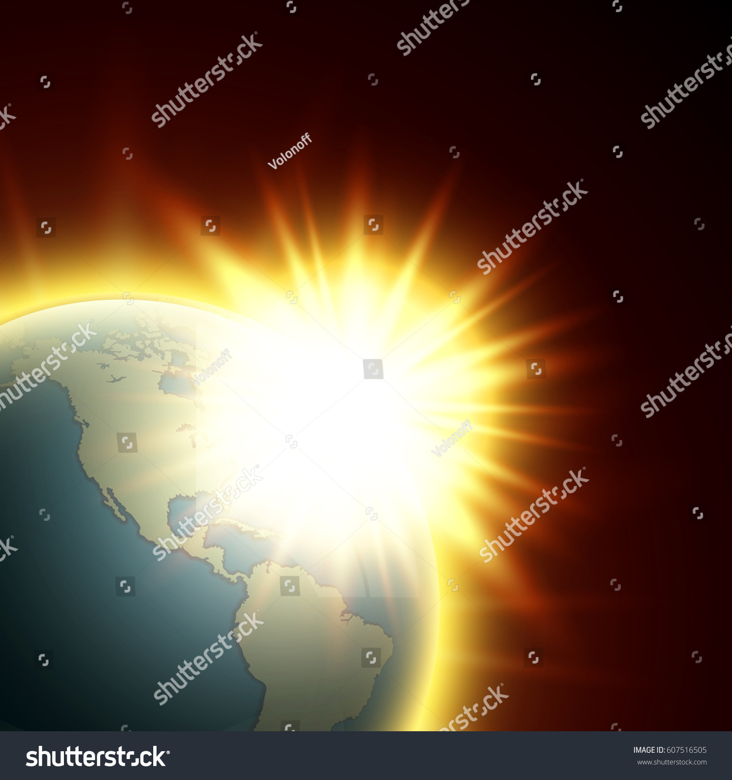 Vector world map rising sun globe vector de stock607516505 shutterstock gumiabroncs Gallery