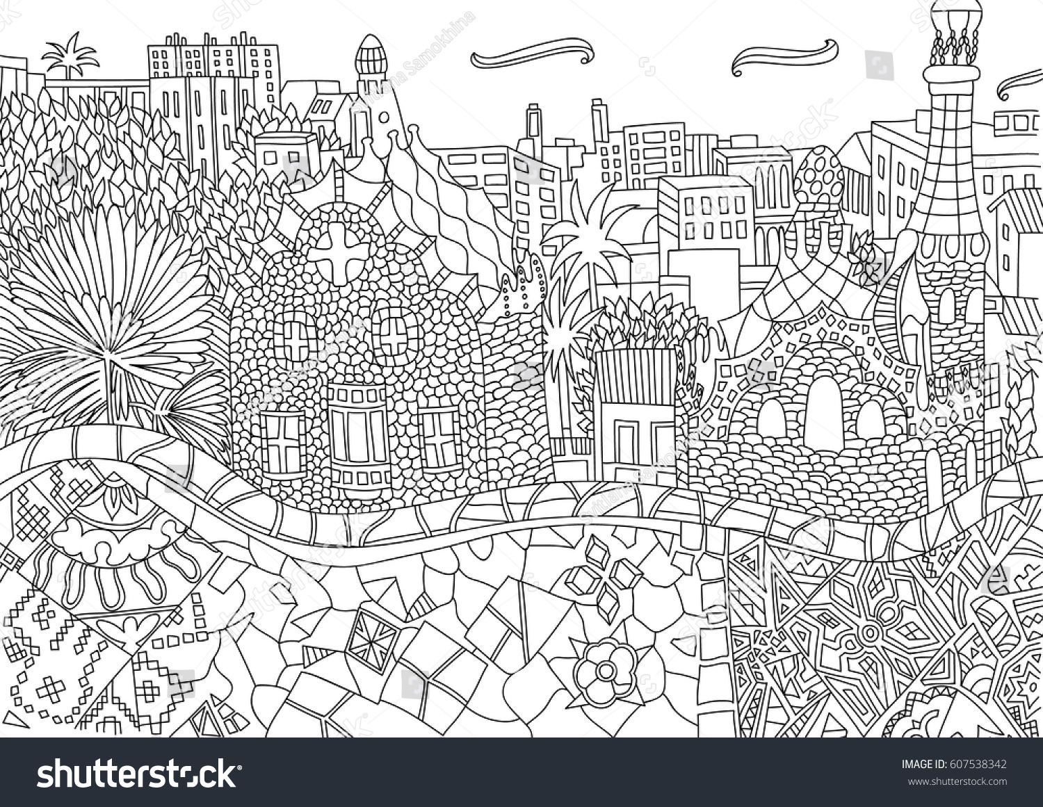 coloring barcelona spain catalonia coloring stock vector