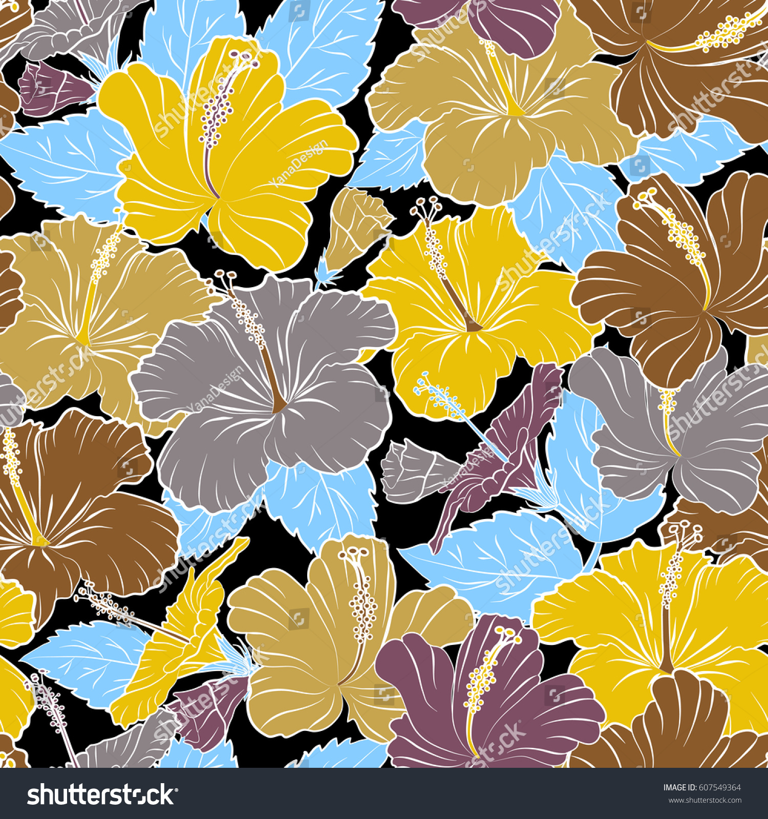 Vintage Vector Floral Seamless Pattern In Yellow And Blue Colors