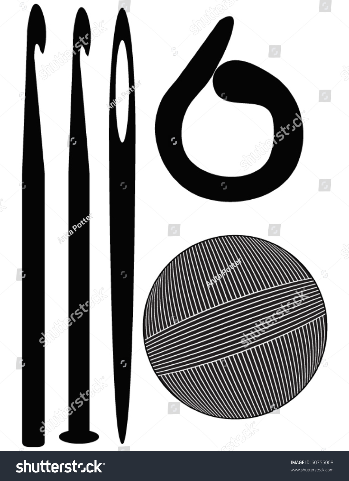 Crocheting Vector : Set Of Crochet Silhouettes Stock Vector Illustration 60755008 ...