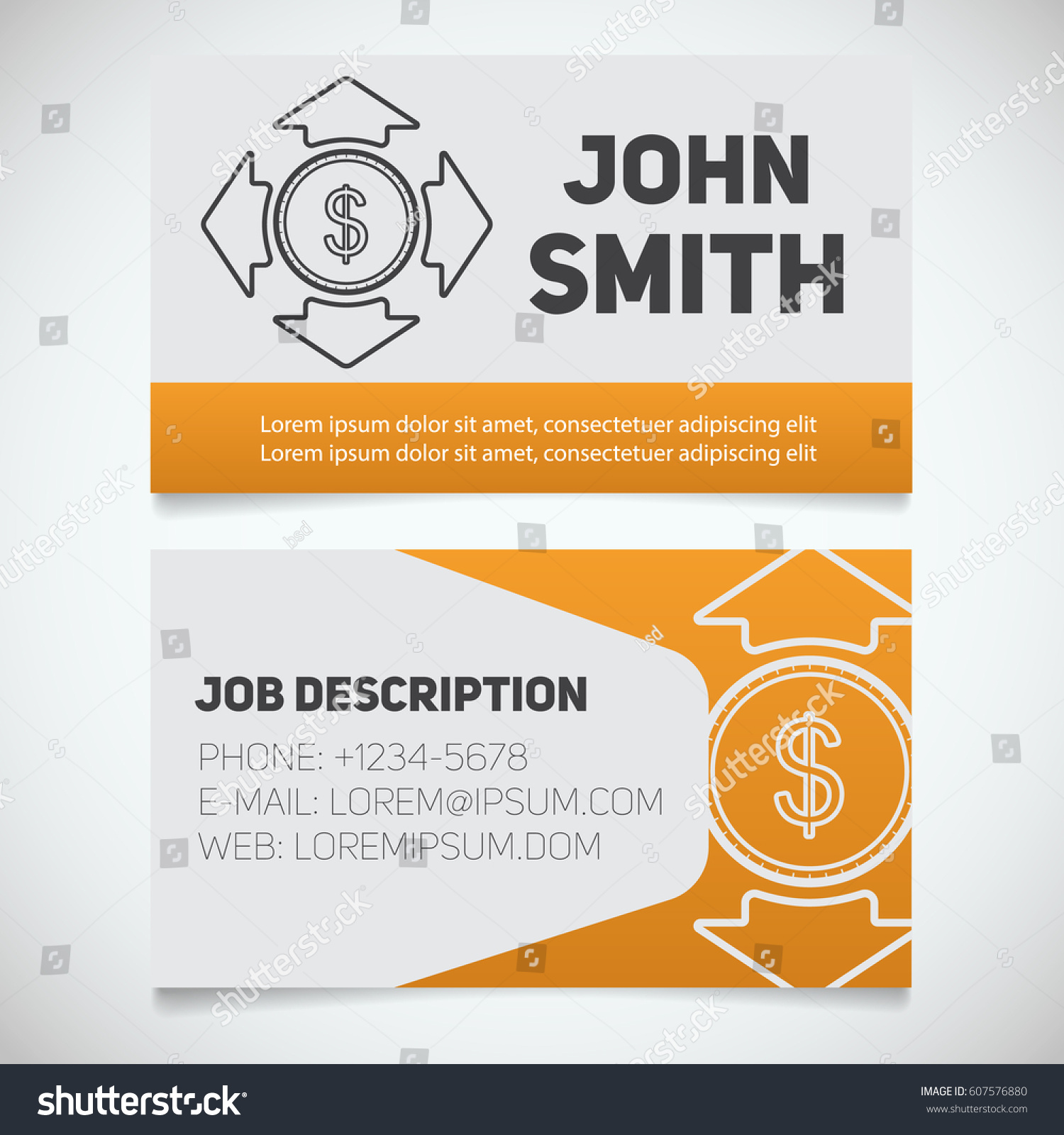 Business Card Print Template Money Spending Stock Vector 607576880 ...