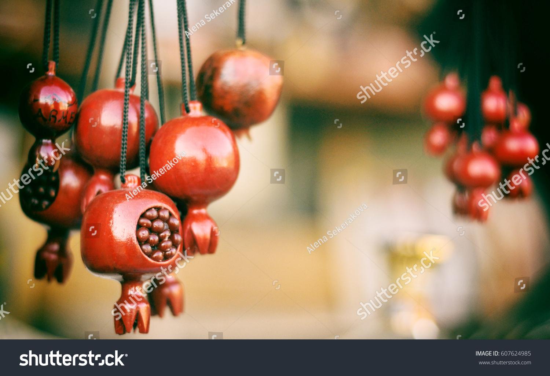 Tradition Armenian Souvenir Wooden Pomegranate Necklaces Stock Photo