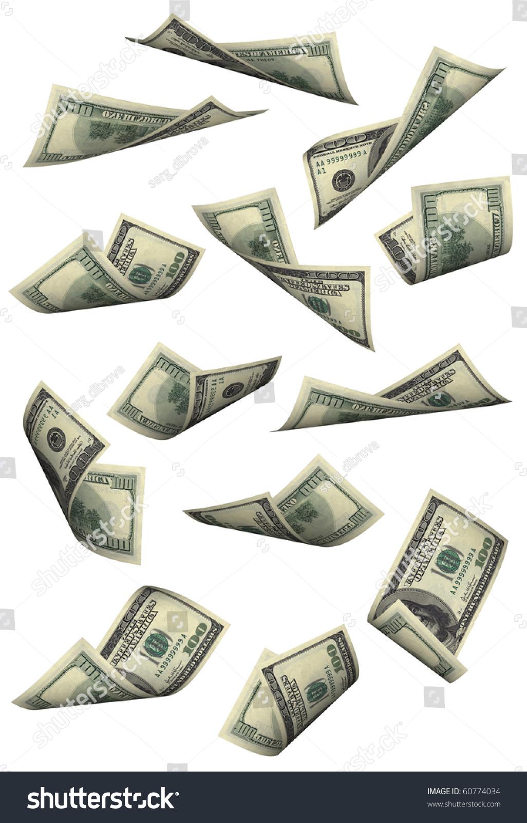 Hundred Dollar Bills Falling On White Stock Photo (Edit Now ...