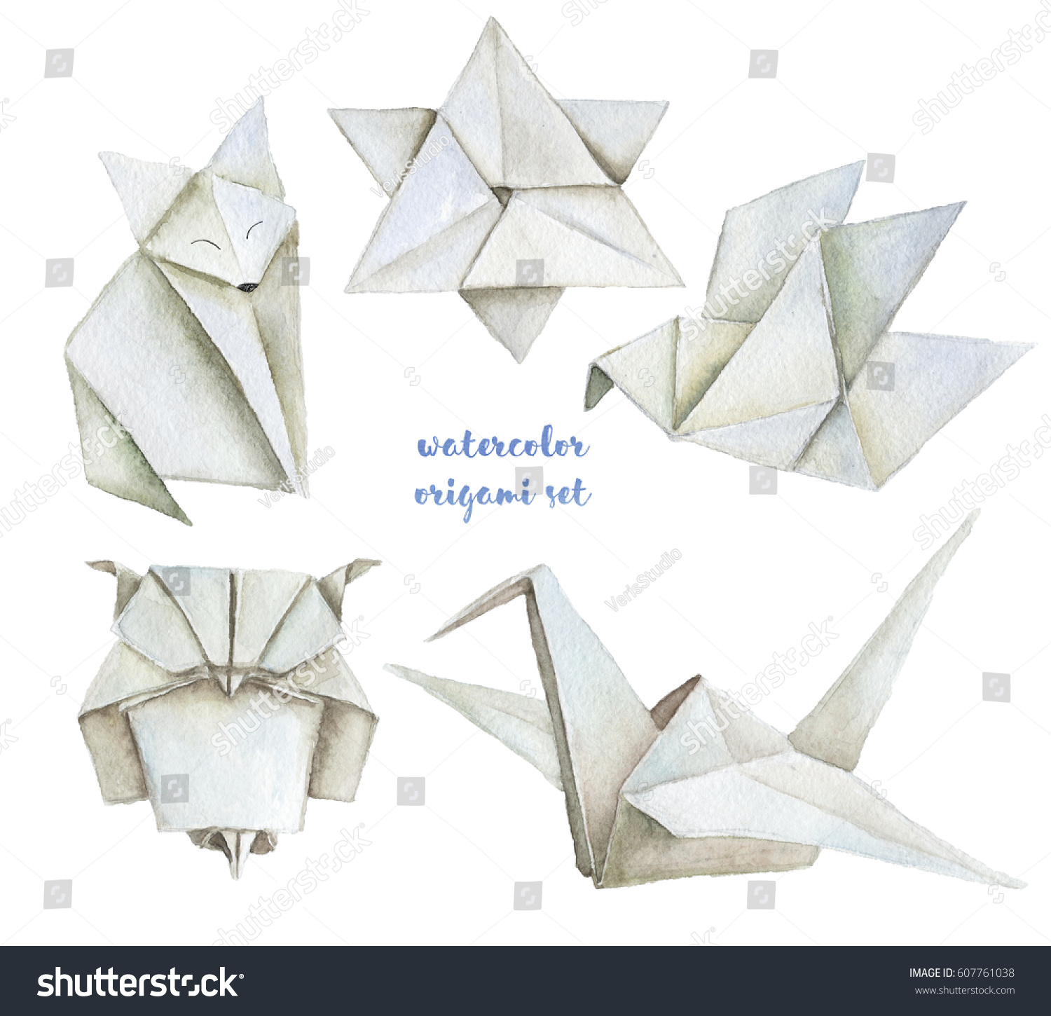 Watercolor Hand Drawn Origami Illustrations Paper Stock ... - photo#20