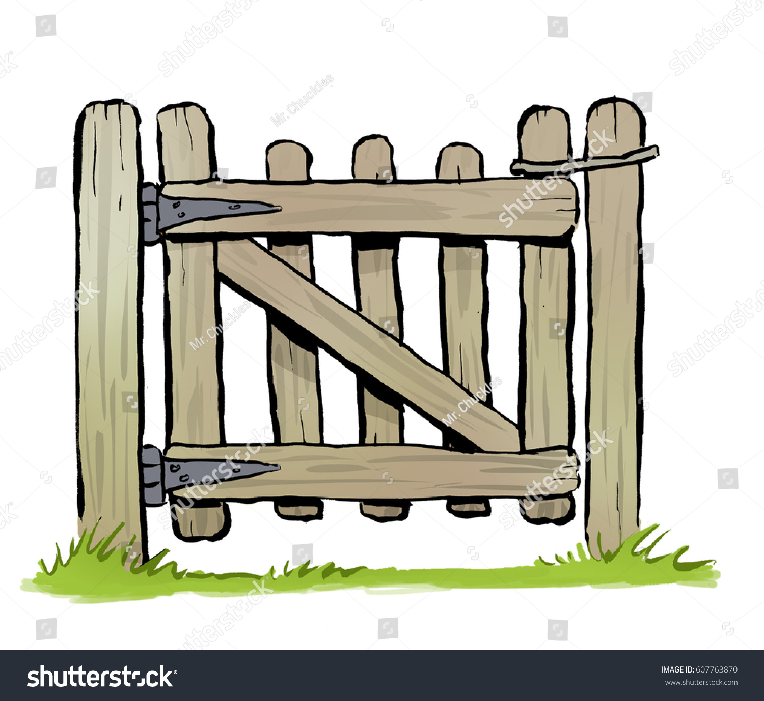Cartoon illustration rustic wooden garden gate stock