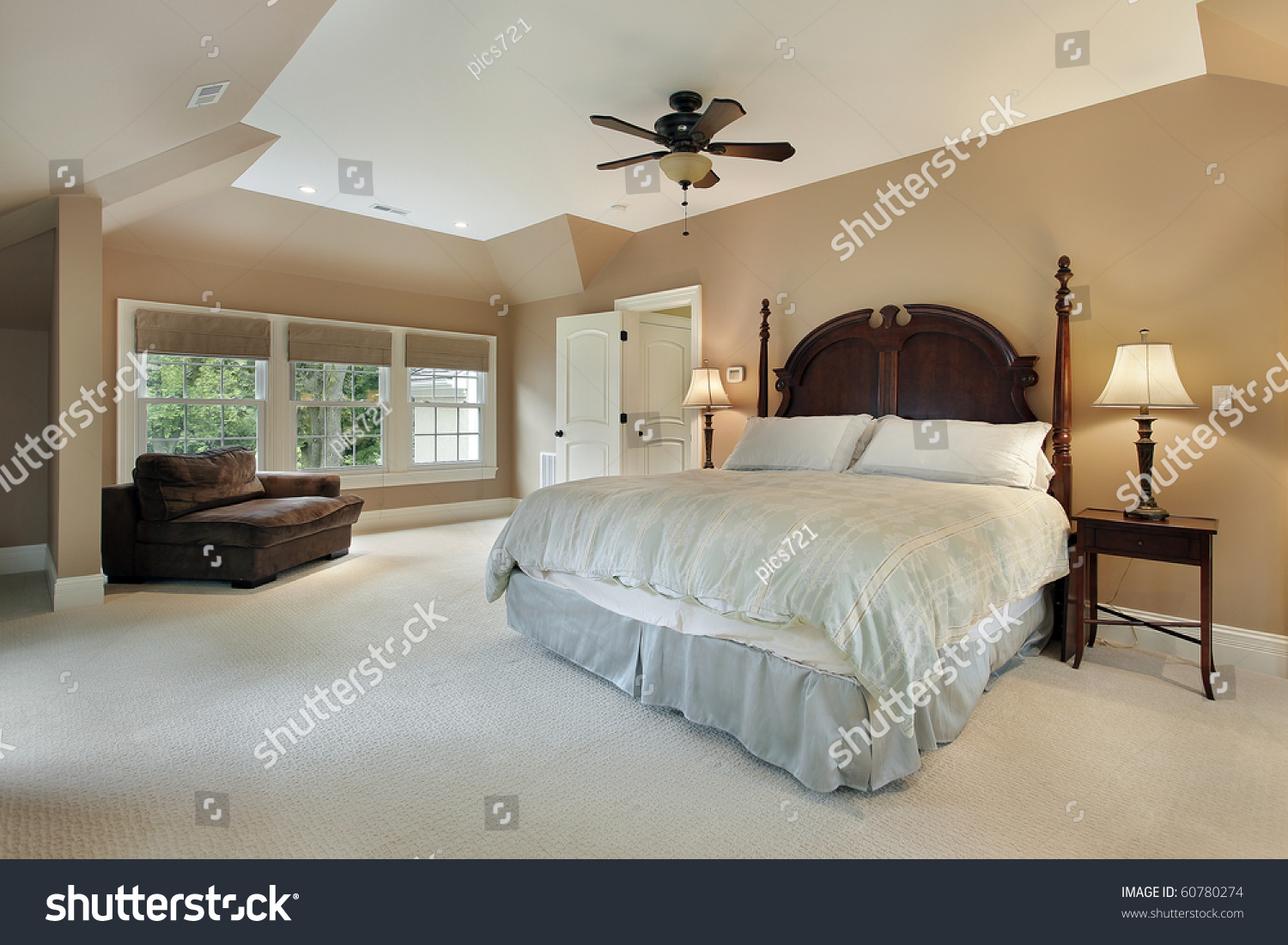 Master Bedroom Luxury Home Tray Ceiling Stock Photo (Edit Now ...