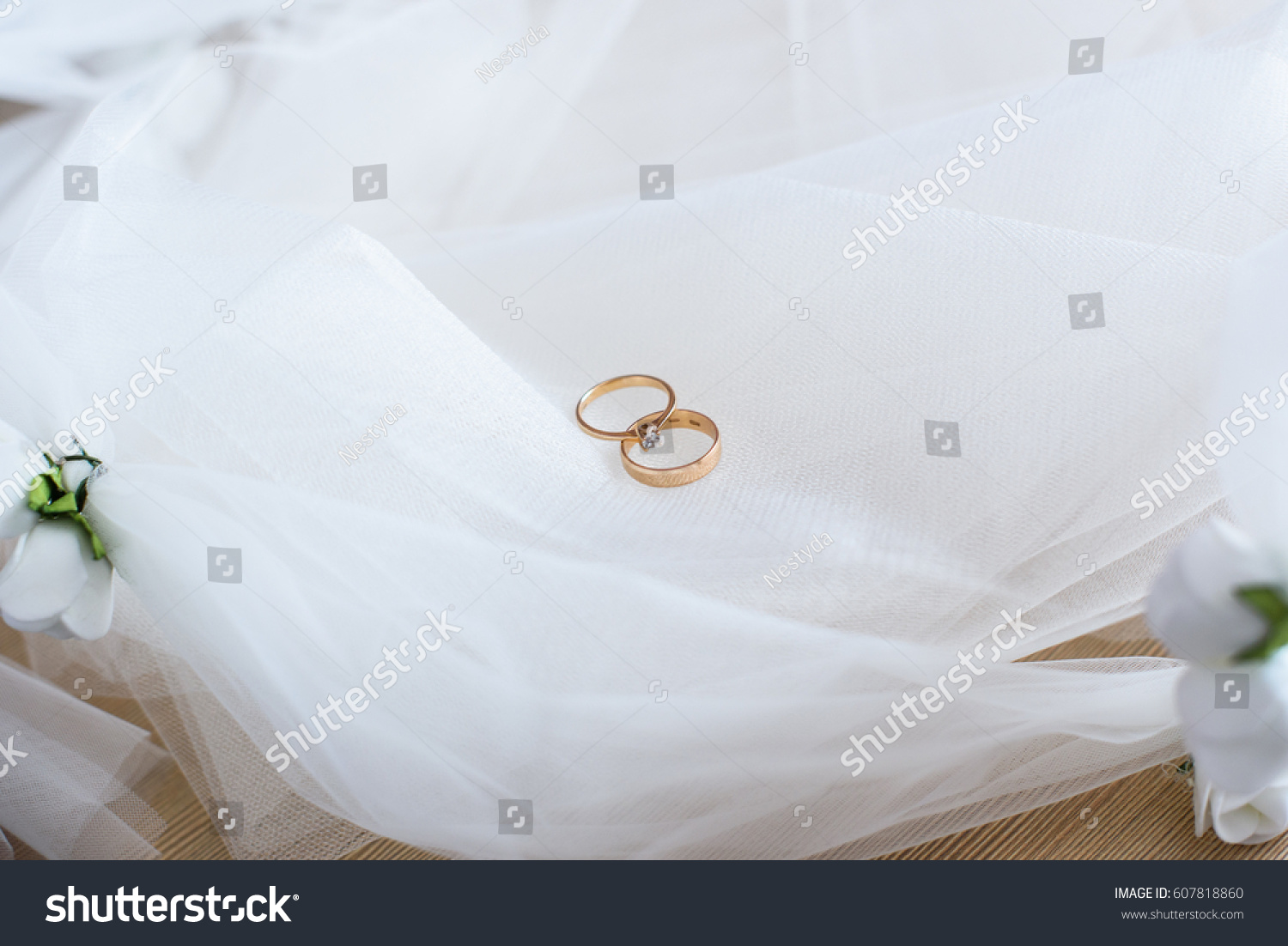 Gold Wedding Rings On White Background Stock Photo Edit Now