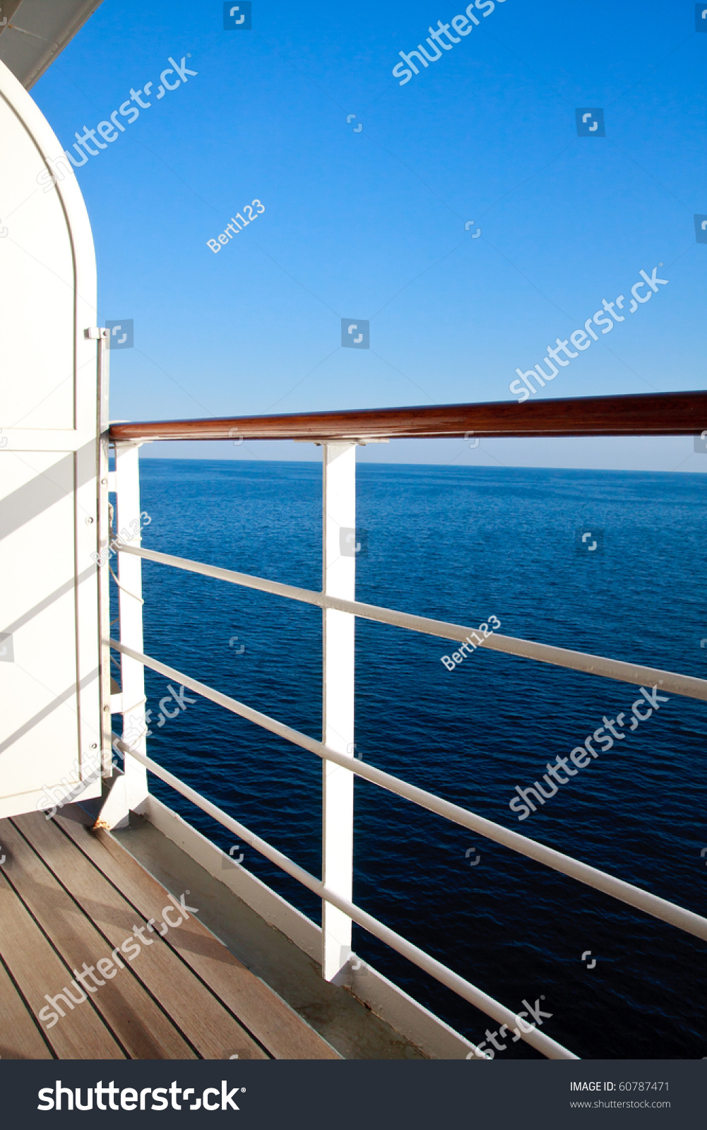 Luxurious cruise ship balcony view on blue ocean stock for Balcony on cruise ship