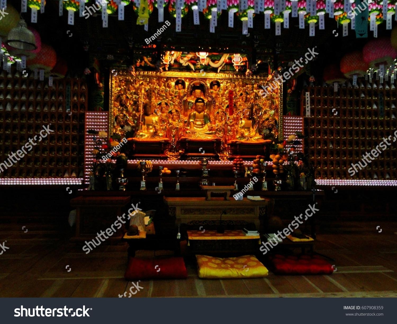 Altar Inside Buddhist Temple Stock Photo 607908359