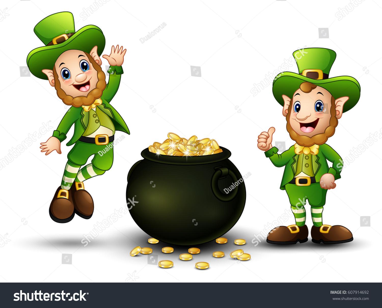 happy cartoon leprechauns pot gold coins stock illustration