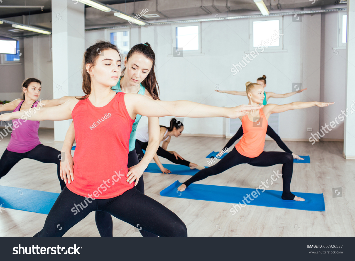 Teacher Helping Yoga Pose Indoorsfitness Sport Stock Photo