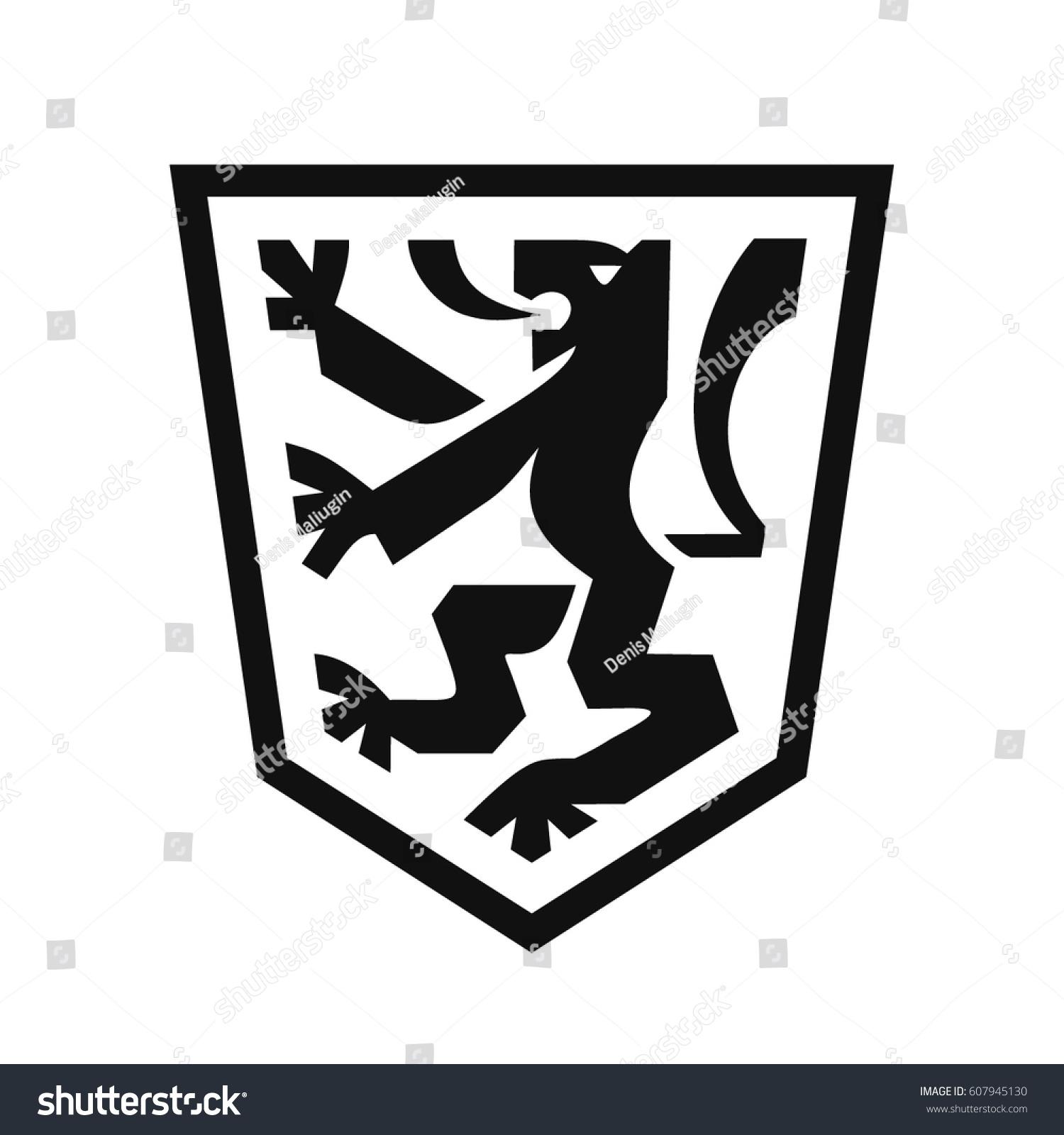 Heraldic lion on shield coat arms stock vector 607945130 heraldic lion on shield coat of arms in modern flat style symbol of strength buycottarizona
