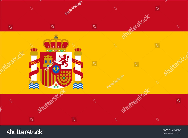 flag spain coat arms modern flat stock vector 607945247 shutterstock