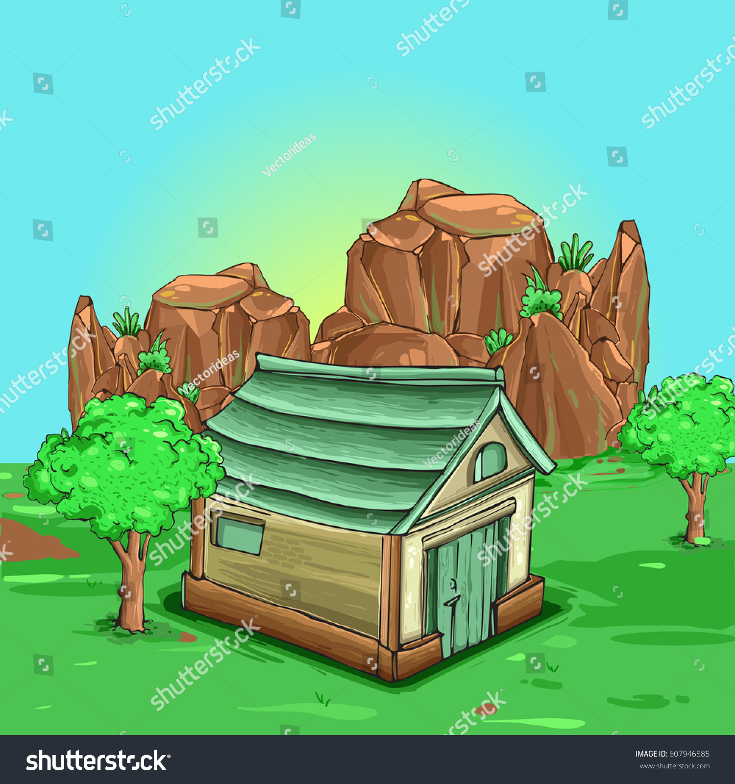 Illustration of a cartoon house inside green fields and tree cliff