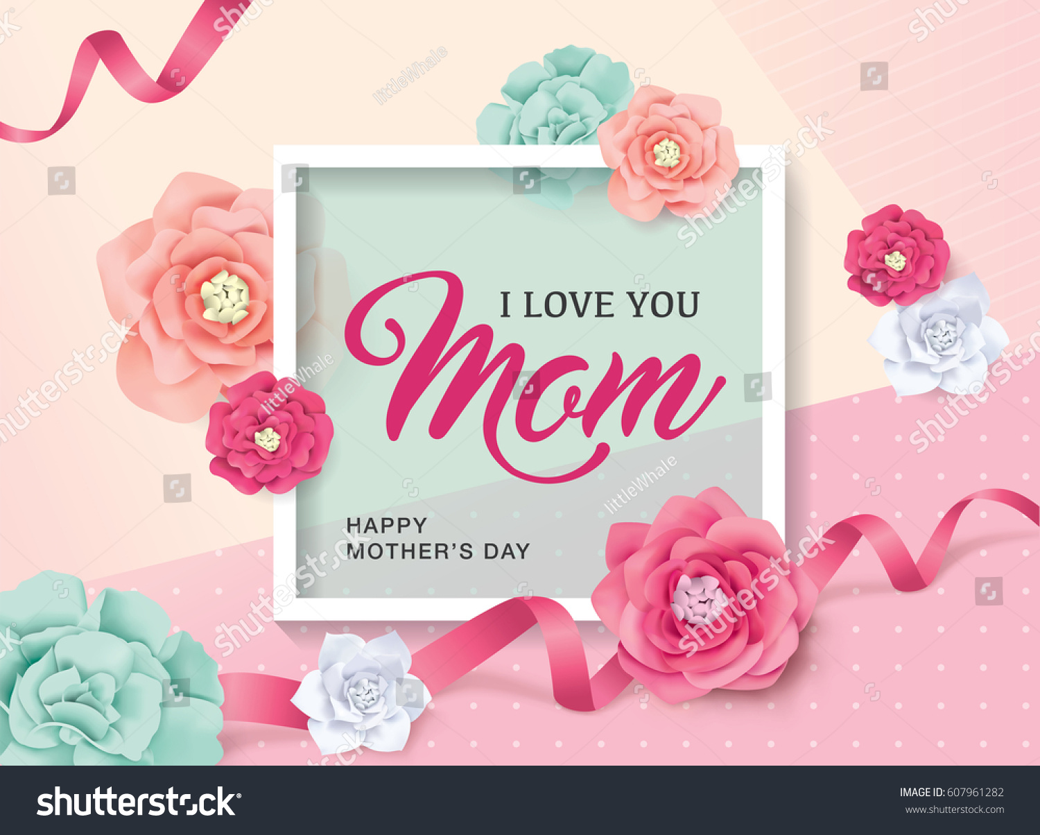 Mothers Day Greeting Card Beautiful Flowers Stock Vector 607961282