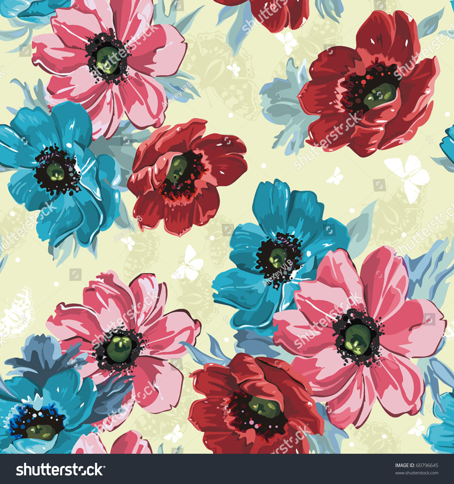 Elegance Seamless Color Flowers Pattern On Stock Vector 60796645 ...