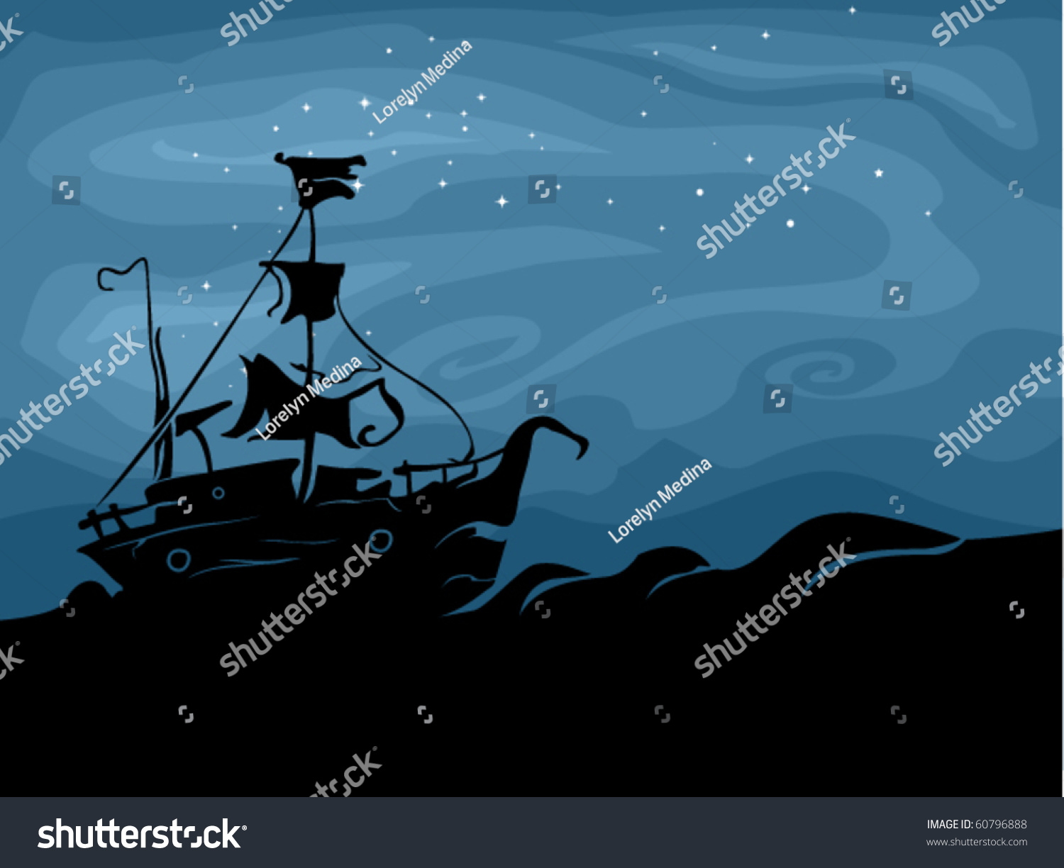 halloween themed design featuring ghost ship sailing stock vector