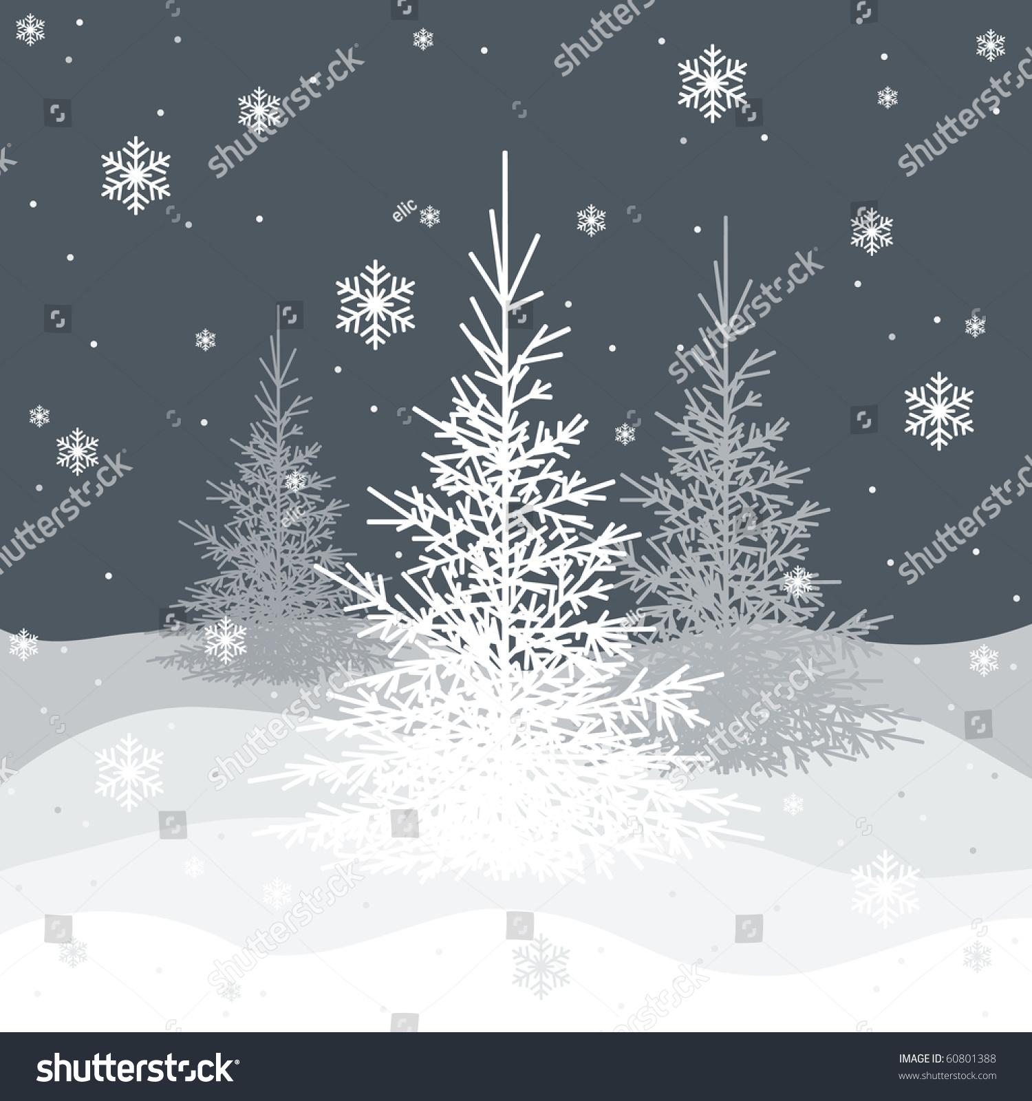 Grey Christmas Tree Christmas Trees On Grey Background Vector Stock Vector 60801388