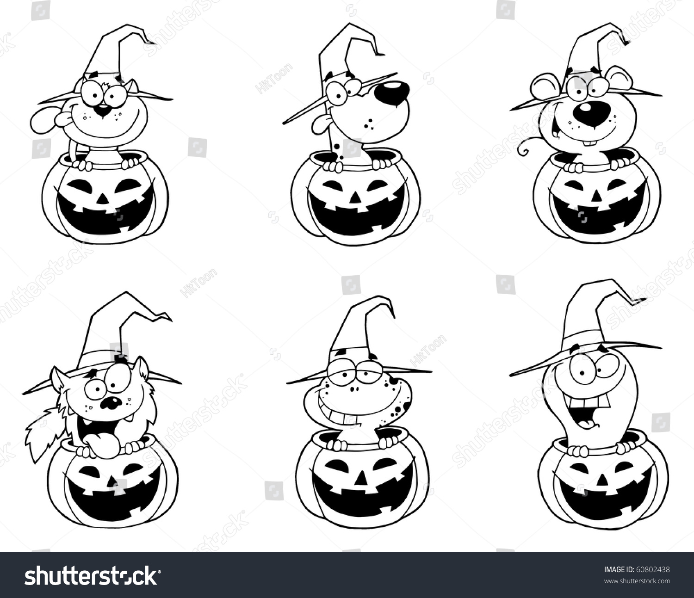 outlines animals halloween pumpkins stock vector (royalty free