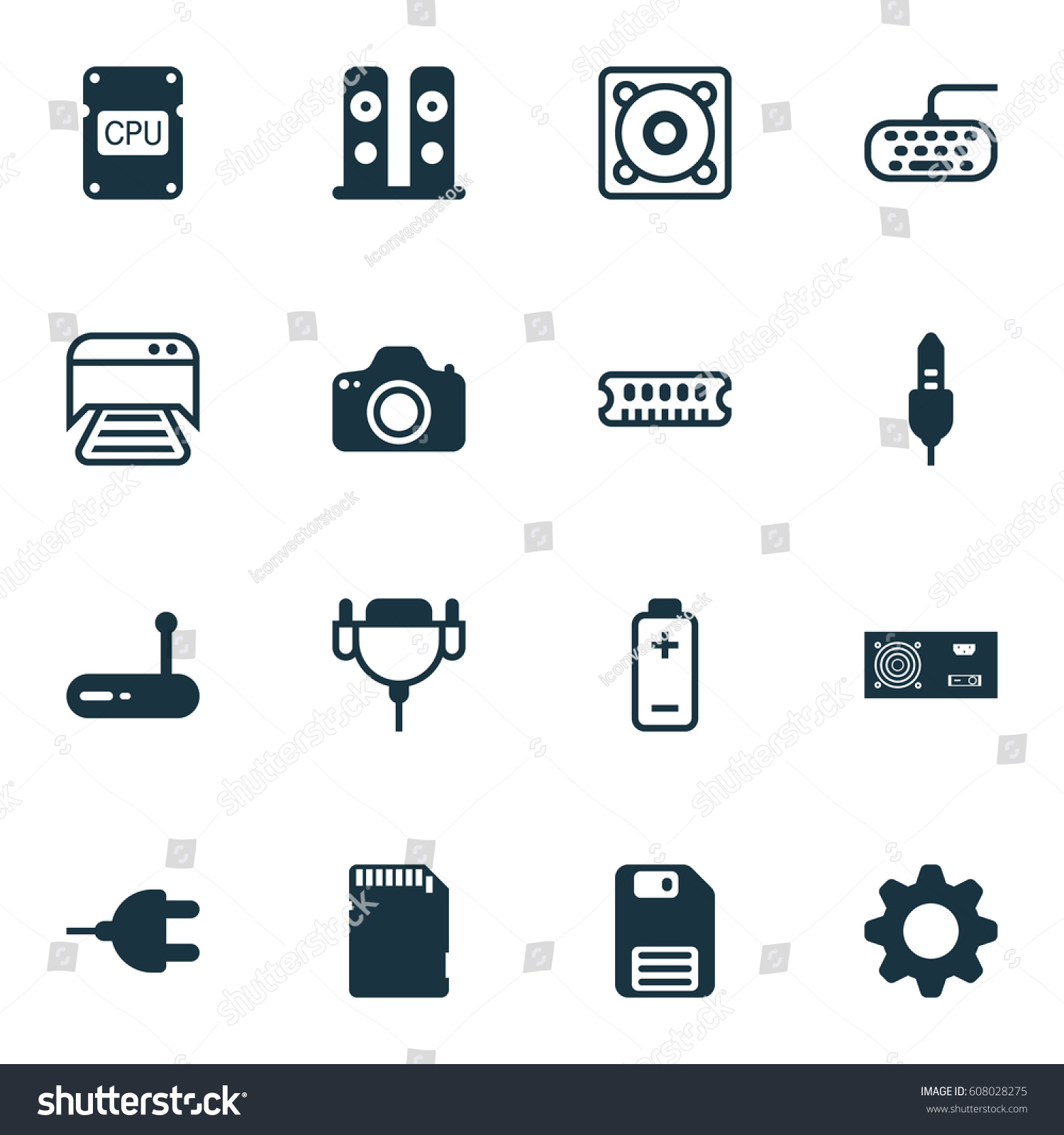 Set 16 Computer Hardware Icons Includes Stock Illustration 608028275 ...