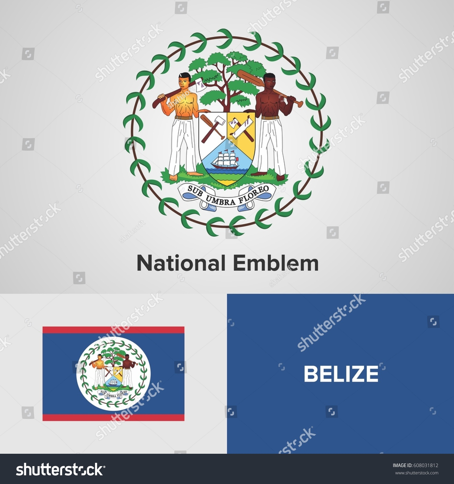 Belize national emblem flag stock vector 608031812 shutterstock belize national emblem and flag biocorpaavc Image collections