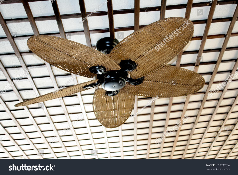 Vintage Wooden Ceiling Fan Stock Photo Edit Now 608036234