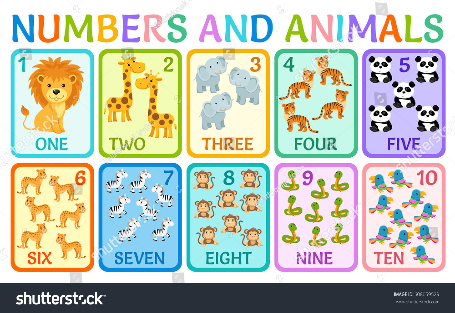 Cute Children Cards Numbers Kids Learning Stock Vector 608059529 ...