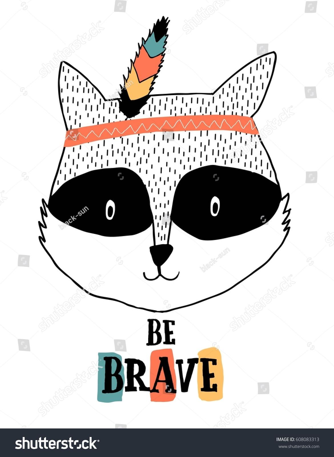 raccoon illustration vector print design stock vector 608083313