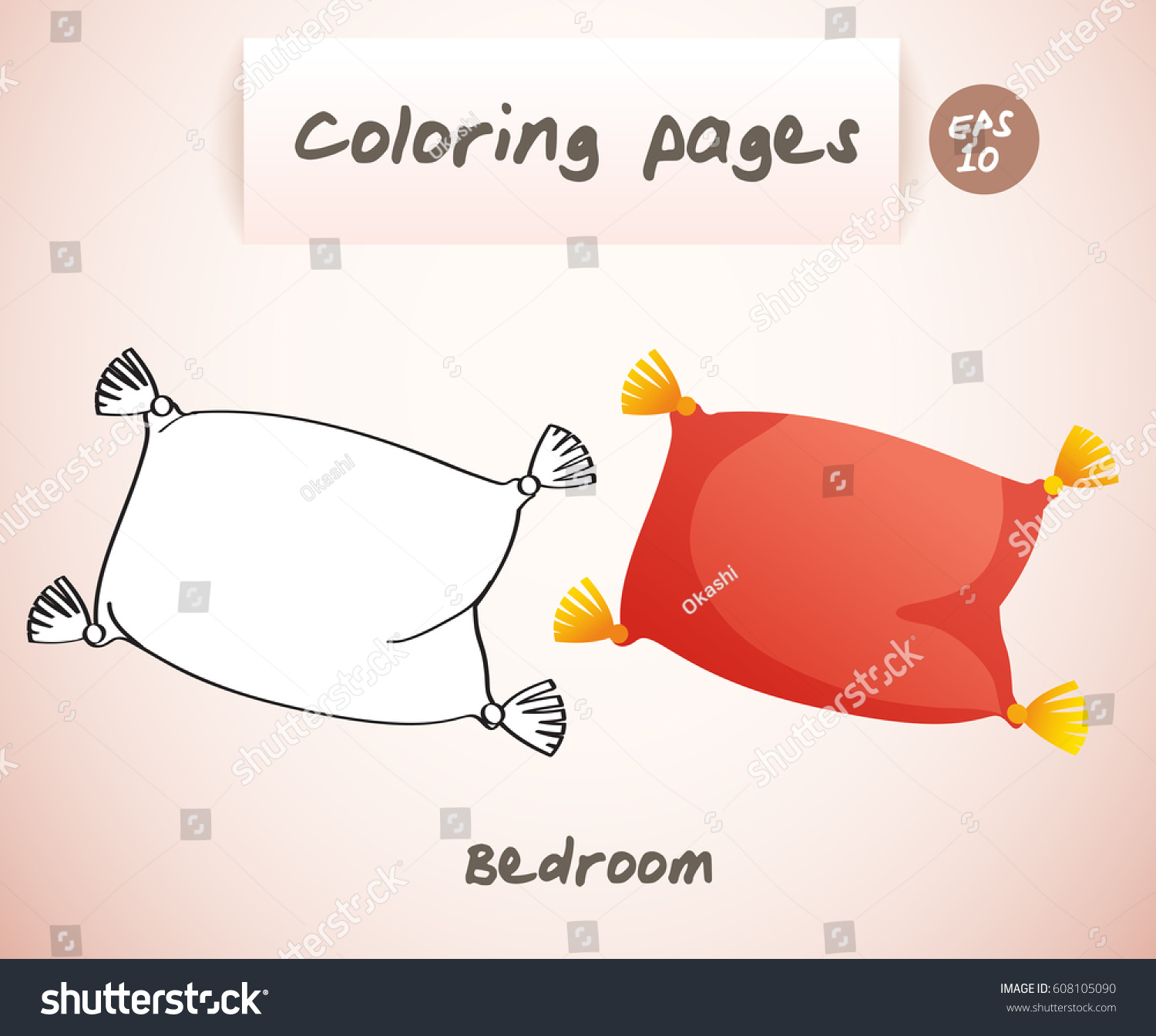 Coloring Book Pages Kids Bedroom Vector Stock Vector 608105090 ...
