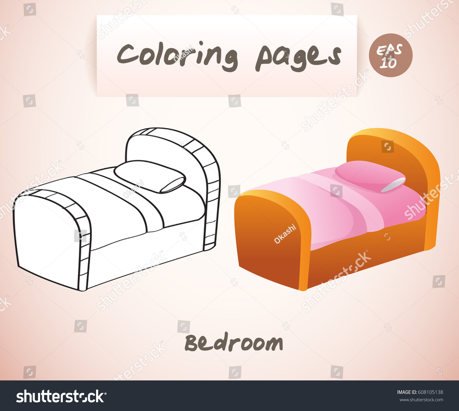 Coloring Book Pages Kids Bedroom Bed Stock Vector Royalty Free 608105138