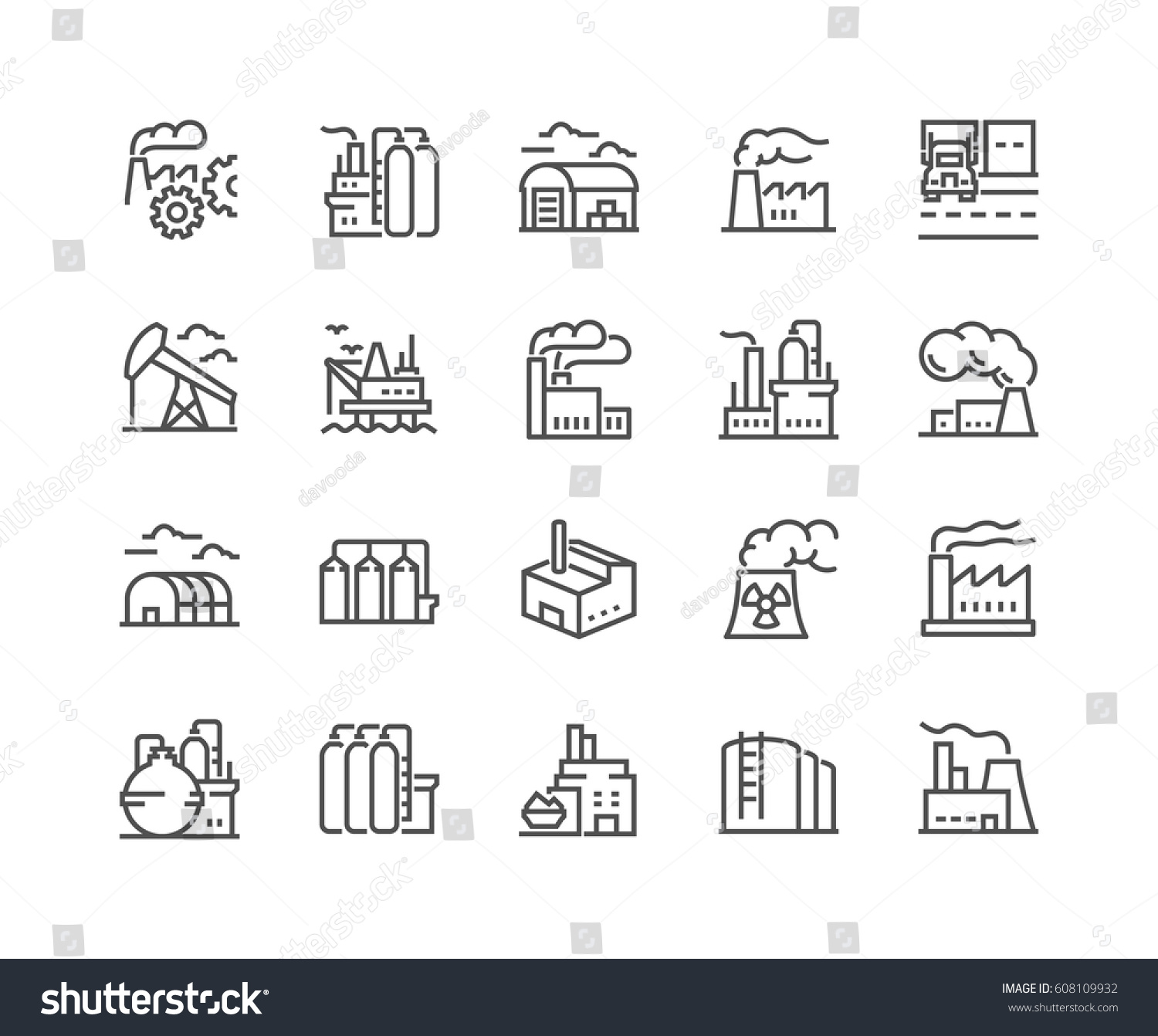 Simple Set of Factories Related Vector Line Icons.  Contains such Icons as Truck Terminal, Power Station, Mine, Warehouse, Greenhouse and more. Editable Stroke. 48x48 Pixel Perfect.