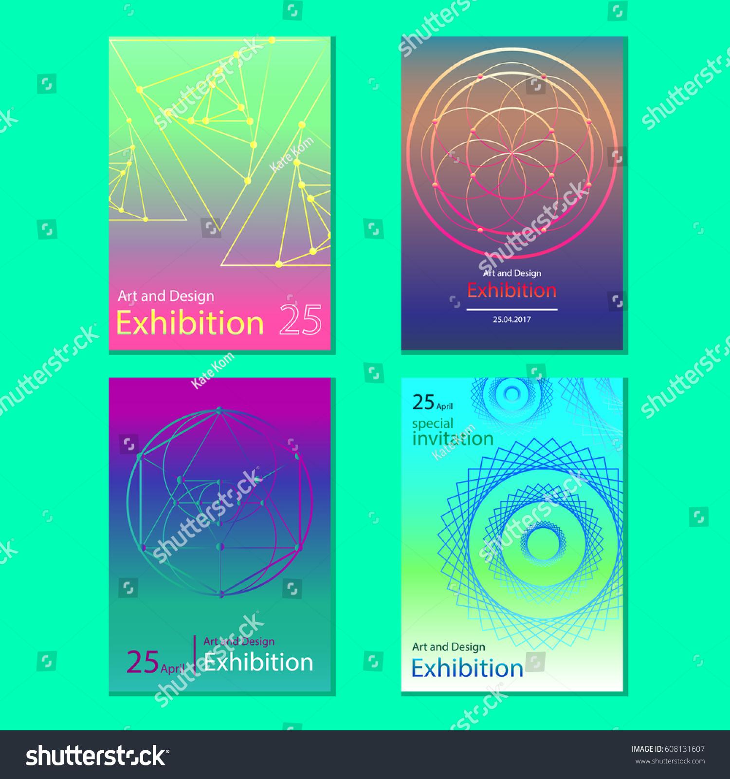 Set abstract geometric invitation vector stock vector 608131607 set of abstract geometric invitation vector stopboris Images