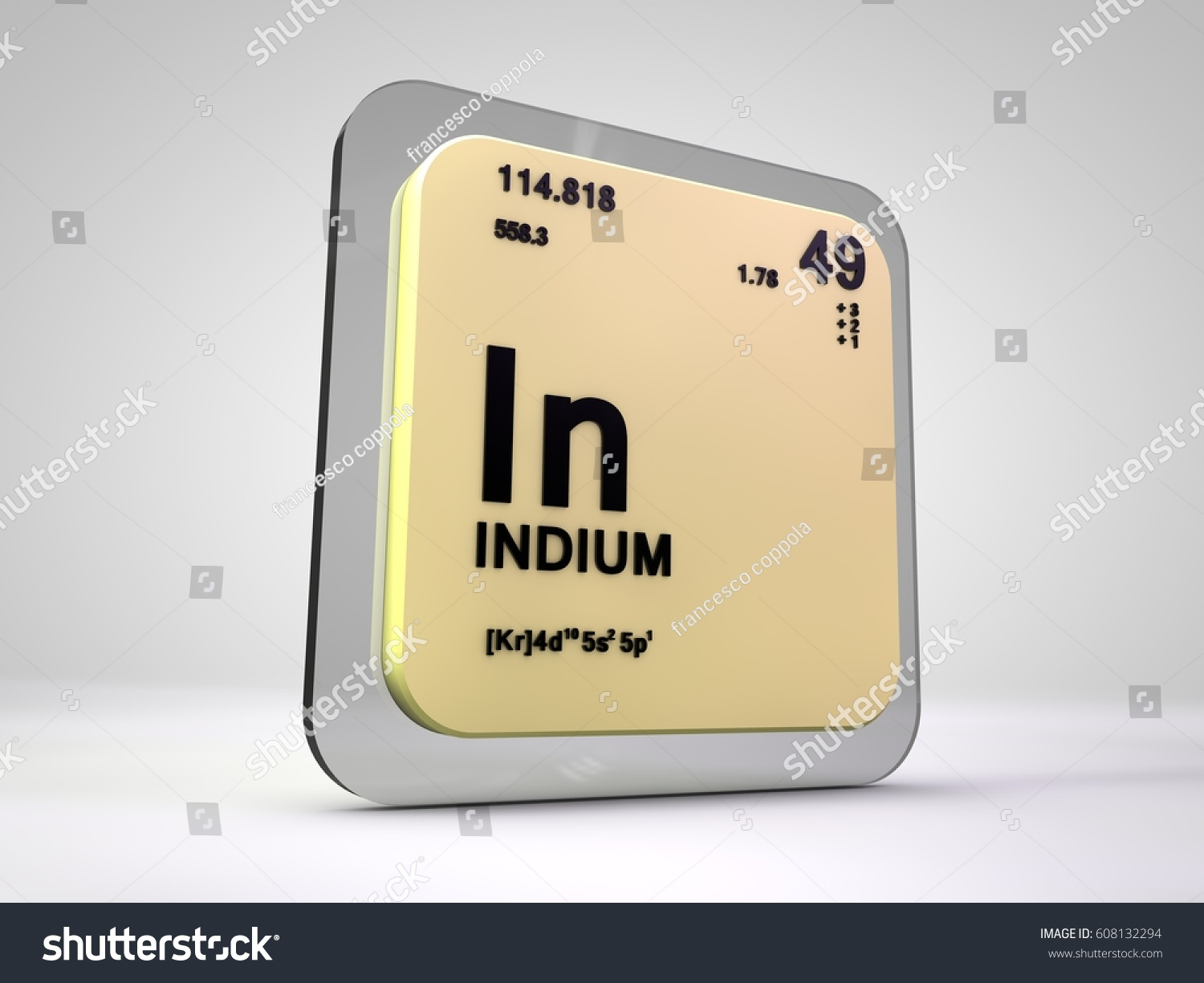Indium chemical element periodic table 3d stock illustration indium in chemical element periodic table 3d render gamestrikefo Gallery