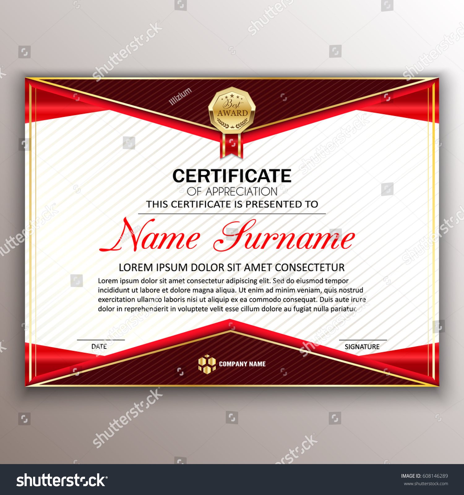 Beautiful Certificate Template Design Best Award Stock-Vektorgrafik ...