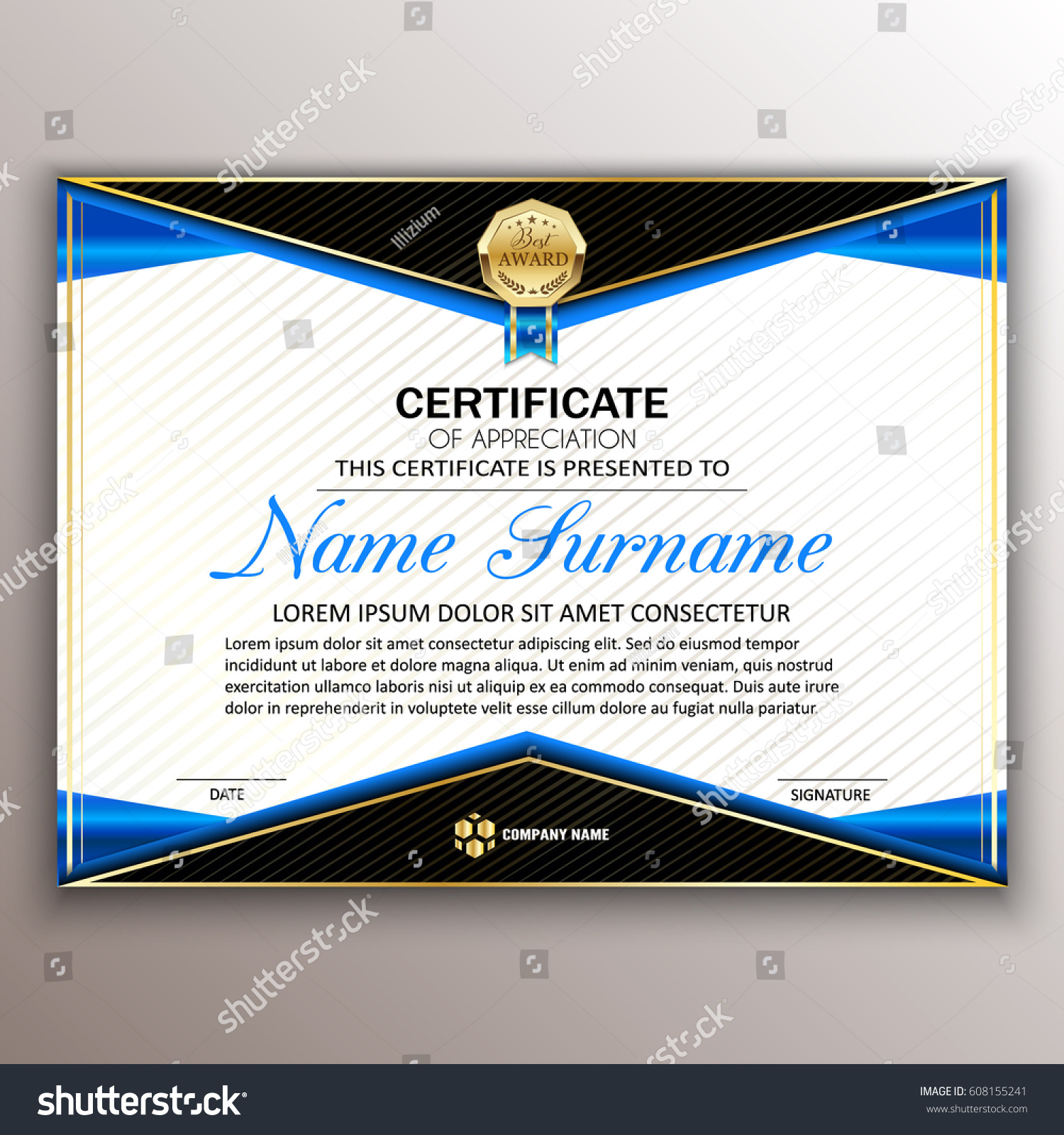Beautiful certificate template design best award stock vector beautiful certificate template design with best award symbol vector alramifo Image collections