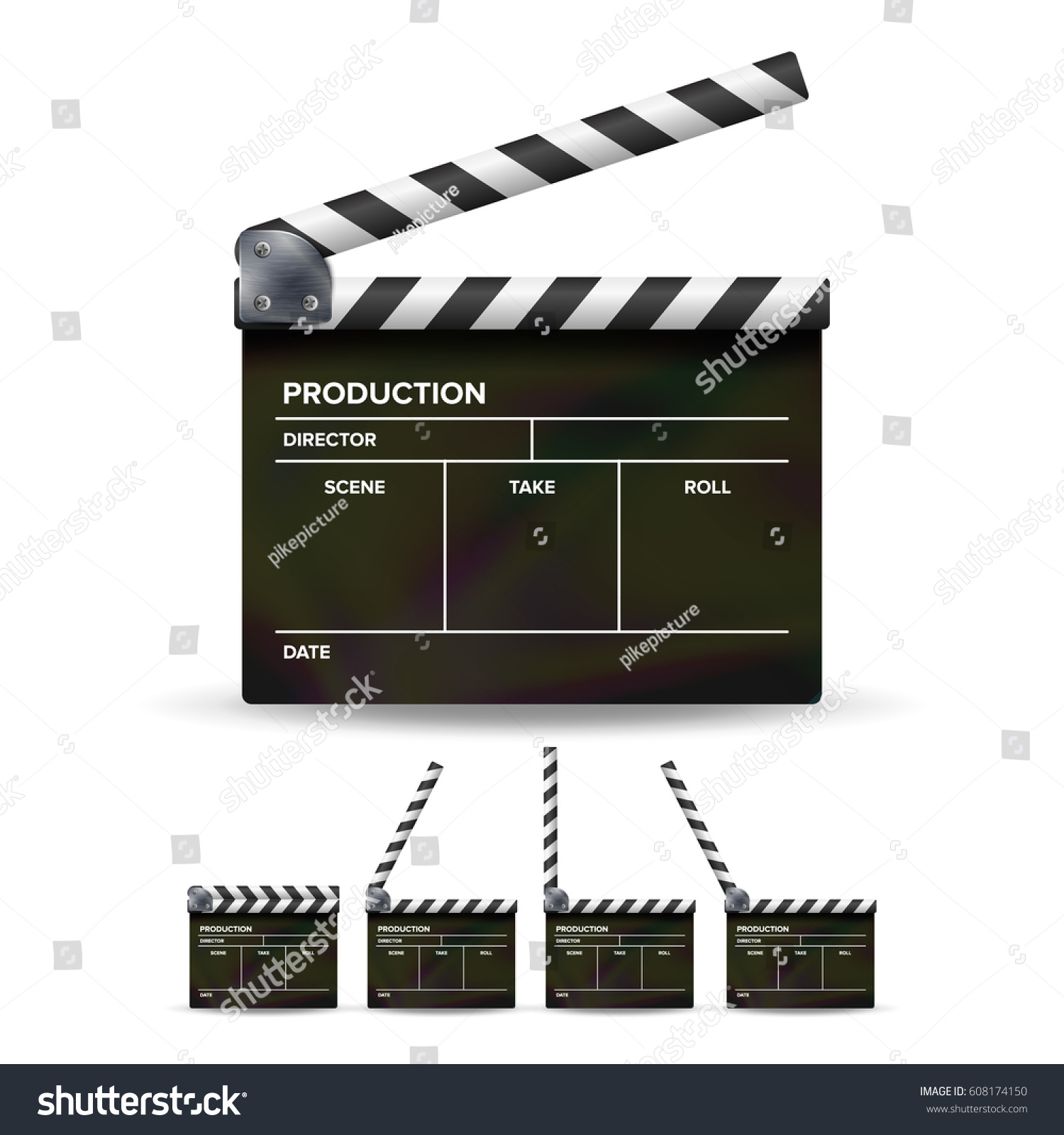 clapper board vector set movie clapper stock vector 608174150, Powerpoint templates