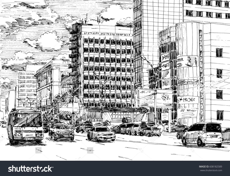 Royalty-free City street view, traffic scene. Black… #608182589 ...